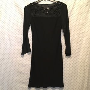 Evan Picone Black Crochet Long Sleeve Shift Dress